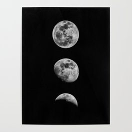 Phases of the Moon print black-white monochrome new lunar eclipse poster home bedroom wall decor Poster