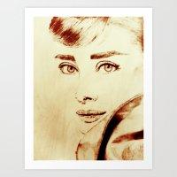 audrey hepburn Art Prints featuring Audrey Hepburn by Farinaz K.