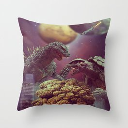 Godzilla VS Gamora  Throw Pillow