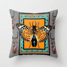 CONTEMPORARY  BUTTERFLY GREY STAG-HORNED BEETLES Throw Pillow