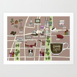 Zagreb Coffee Map Art Print