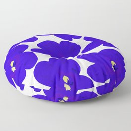 Blue Retro Flowers Floor Pillow