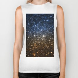 Galaxy Sparkle Stars Blue to Golden Bronze Ombre Biker Tank