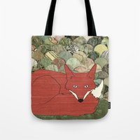 mr fox Tote Bags featuring Mr. Fox by Elephant Trunk Studio