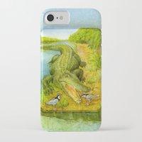 crocodile iPhone & iPod Cases featuring Crocodile by Natalie Berman