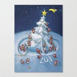 Santas at work Canvas Print