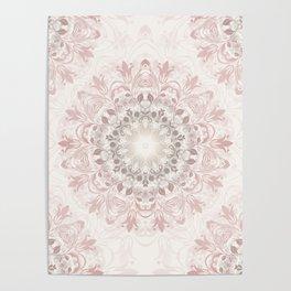 Floral Ombre Beige Mandala Poster