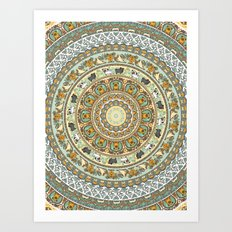 Pug Yoga Medallion Art Print