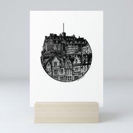 Edinburgh Castle From The Grassmarket in Pen and Ink Mini Art Print