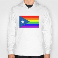 puerto rico Hoodies featuring puerto rico gay people homosexual flag rainbow by tony tudor