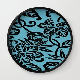 Aqua Black Japanese Leaf Pattern Wall Clock
