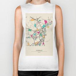 Colorful City Maps: Aarhus, Denmark Biker Tank