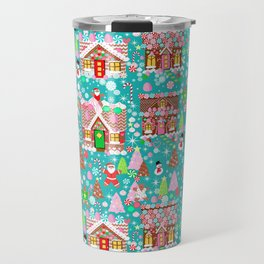 Christmas Gingerbread House Candy Village Travel Mug