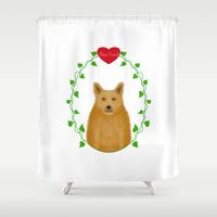 best friend Shower Curtains featuring Best Friend - Red Heeler by Designs By Misty Blue (Misty Lemons)