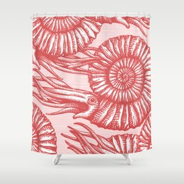 AMMONITE COLLECTION RED Shower Curtain