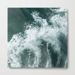Emerald Beautiful Foaming Waves Metal Print