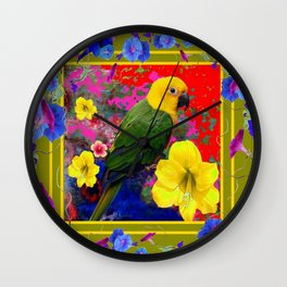 YELLOW-GREEN PARROT TROPICAL RED-BLUE FLORAL ART Wall Clock