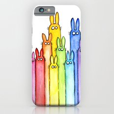Bunny Rainbow Bunnies Rabbit Watercolor Pattern Whimsical Colorful Animals iPhone 6 Slim Case