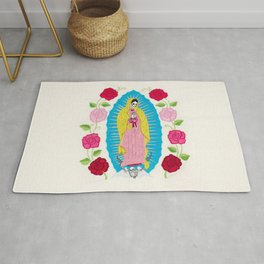 Skull Virgin of Guadalupe_ Hand embroidered Rug