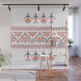 Traditional Romanian red & black cross-stitch people motif on white Wall Mural