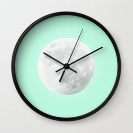 WHITE MOON + TEAL SKY Wall Clock