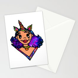 Galactic Unicorn Girl Stationery Cards