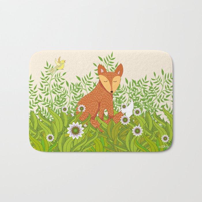 Fox in the Daisies Bath Mat