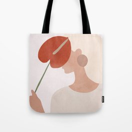 Lady with a Red Leaf Tote Bag