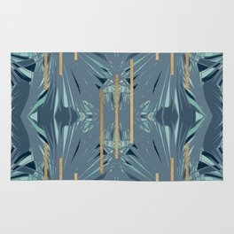 Tropical Art Deco 1.1a Blue, Green, Gold Rug