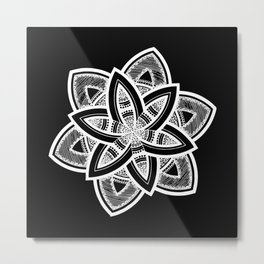 Authentic white mandala on black Metal Print