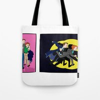 scully Tote Bags featuring Aliens, Scully! by Anna Valle