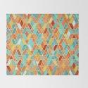 Tangerine & Turquoise Geometric Tile Pattern by micklyn