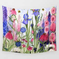 Colorful Garden Flower Painting Wall Tapestry