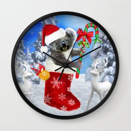 Baby Koala Christmas Cheer Wall Clock