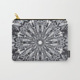 Black and White Snowflake Mandala on Clarinet Reeds Carry-All Pouch