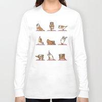 english bulldog Long Sleeve T-shirts featuring English Bulldog Yoga by Huebucket