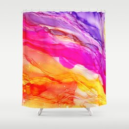 Pocket of Sunshine - fluid art, red orange yellow purple, vibrant fun, playroom Shower Curtain