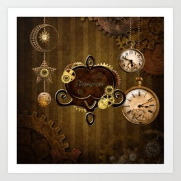 Awesome steampunk design with clocks and gears Art Print