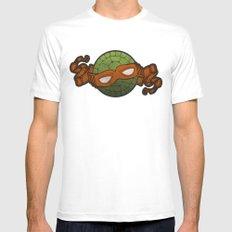 The Orange Turtle White Mens Fitted Tee MEDIUM