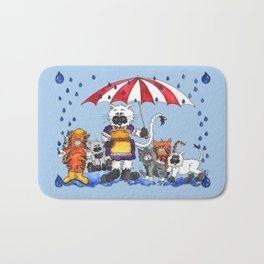 Cats in Rainy Weather Bath Mat