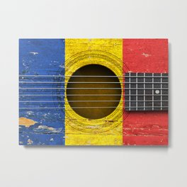 Old Vintage Acoustic Guitar with Romanian Flag Metal Print