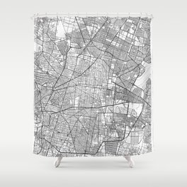 Mexico Map Line Shower Curtain