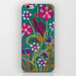 Starry Floral Felted Wool, Turquoise and Pink iPhone Skin