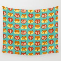 foxes Wall Tapestries featuring Foxes! Foxes! Foxes! by paraply