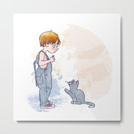 kid and cat Metal Print
