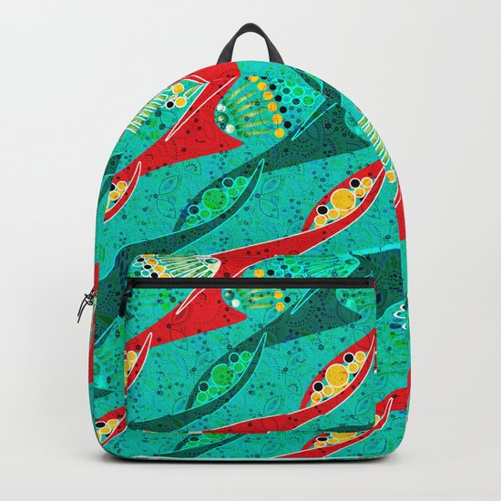 Bright colorful turquoise pattern . Backpack
