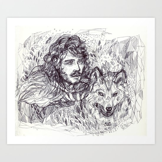 Jon and Ghost Art Print