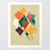 Whimsical kites Art Print
