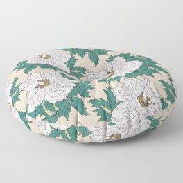 White Peonies Floor Pillow