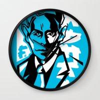 kafka Wall Clocks featuring Kafka portrait in Blue & Black by aygeartist